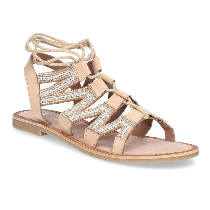 Béžové kožené sandály se šněrováním a korálky bata, béžová, 566-8639 - 13
