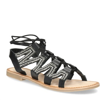Černé kožené sandály se šněrováním a korálky bata, černá, 566-6639 - 13