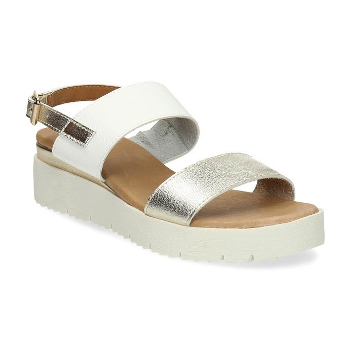 Dámské sandály se zlatými pásky na flatformě bata, bílá, 661-1614 - 13