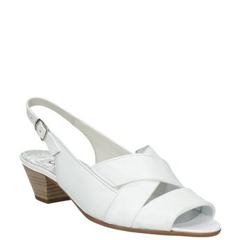 Bílé kožené sandály na stabilním podpatku šíře H gabor, bílá, 666-1351 - 13
