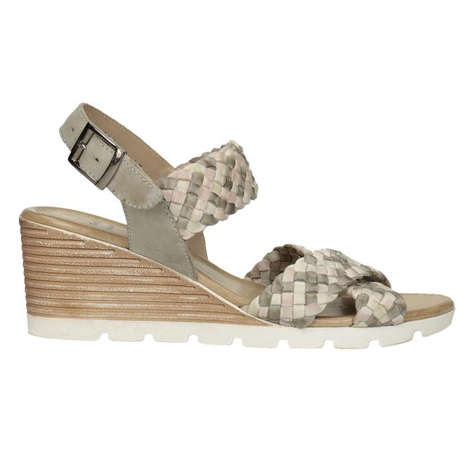 Kožené pletené sandály na klínku béžové bata, vícebarevné, 666-1622 - 16