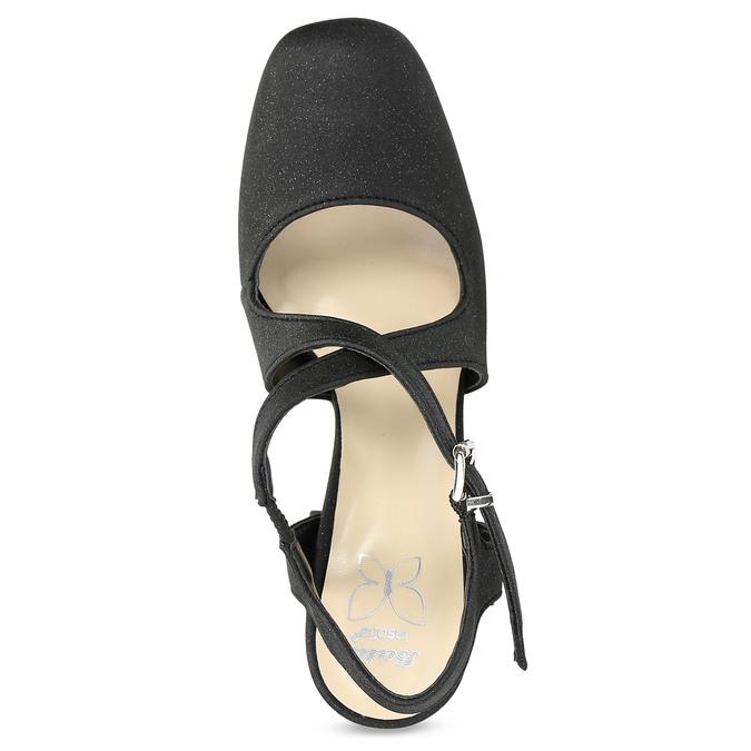 Černé dámské sandály na podpatky se třpytkami insolia, černá, 726-6653 - 17