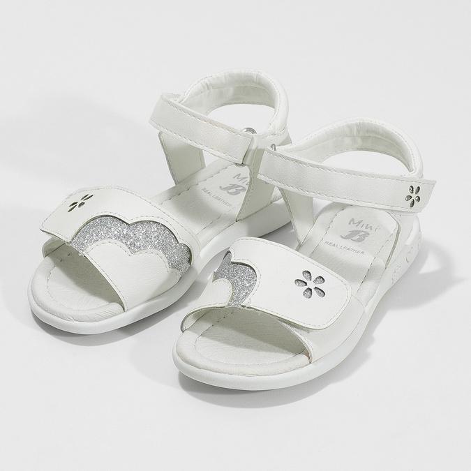 Bílé dívčí sandály se třpytkami mini-b, bílá, 261-1144 - 16