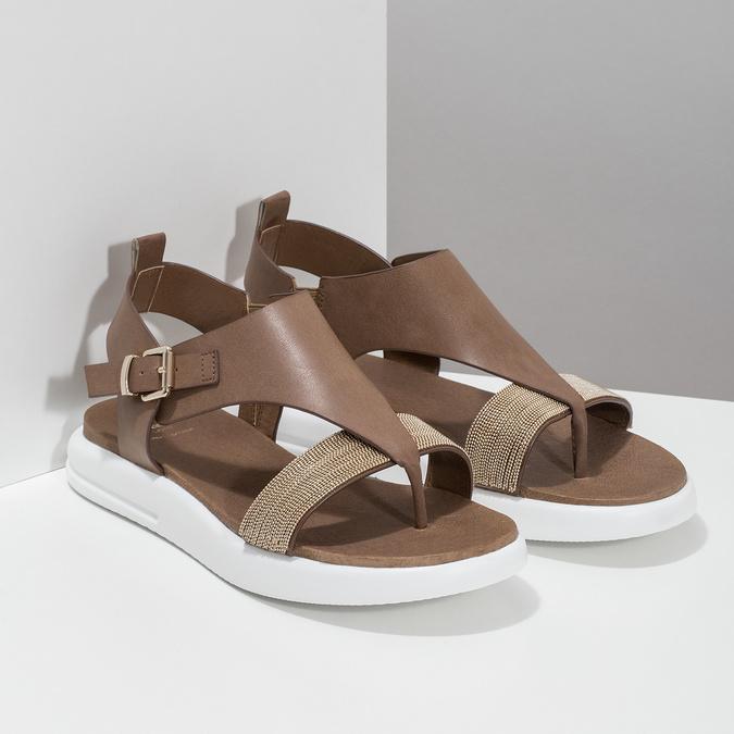 Hnědé dámské sandály na výrazné podešvi bata-light, hnědá, 561-4616 - 26