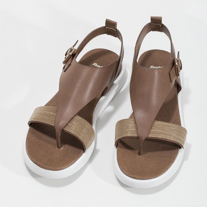 Hnědé dámské sandály na výrazné podešvi bata-light, hnědá, 561-4616 - 16