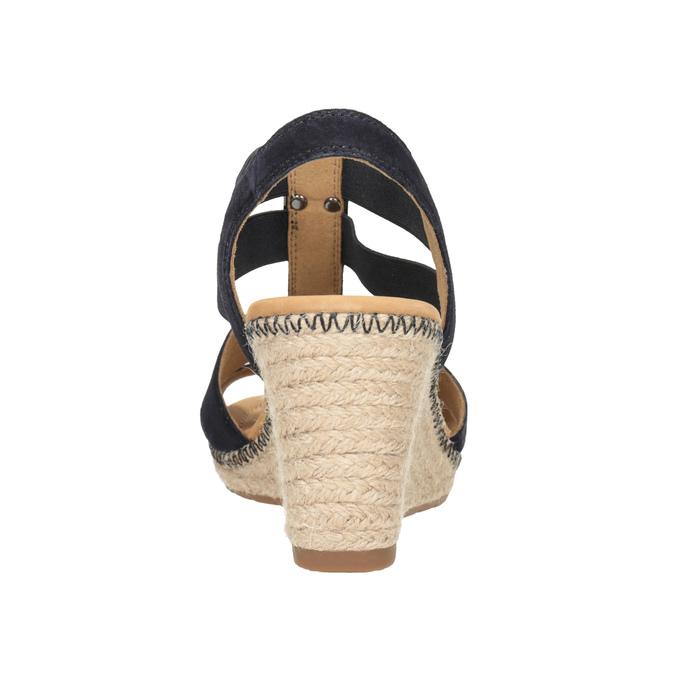 Tmavě modré kožené sandály na klínovém podpatku gabor, modrá, 763-9013 - 16