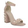 Dámské sandály na podpatku s perlami insolia, růžová, 769-5623 - 13