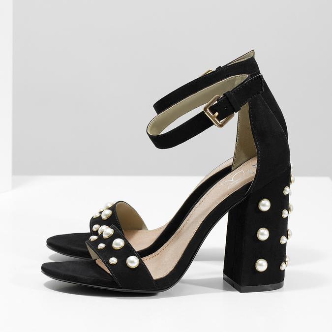 Dámské sandály na širokém podpatku s perličkami insolia, černá, 769-6623 - 16