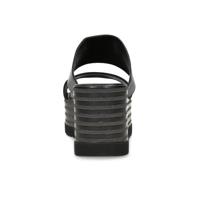 Kožené nazouváky na flatformě bata, černá, 766-6613 - 15