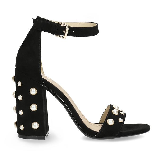 Dámské sandály na širokém podpatku s perličkami insolia, černá, 769-6623 - 19