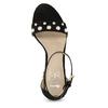 Dámské sandály na širokém podpatku s perličkami insolia, černá, 769-6623 - 17
