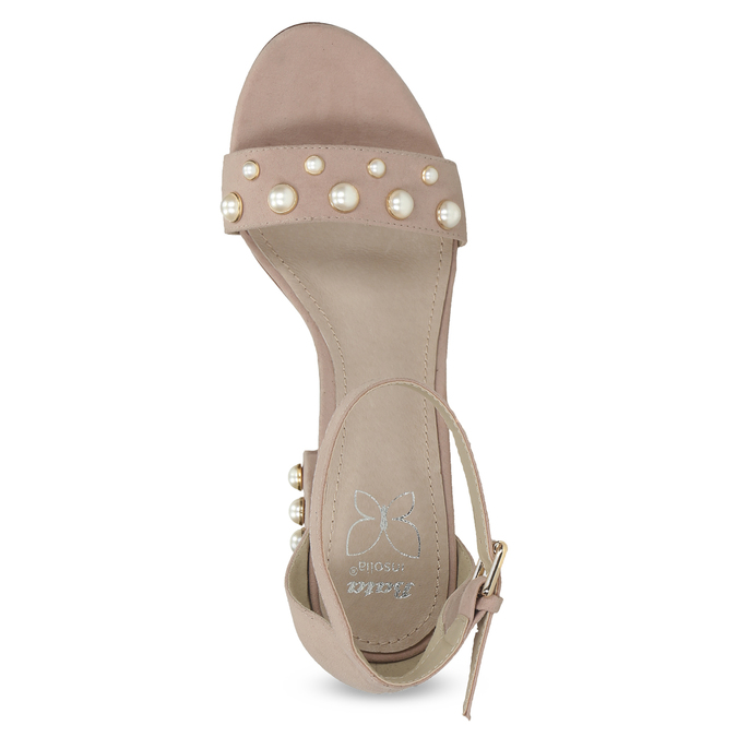 Dámské sandály na podpatku s perlami insolia, růžová, 769-5623 - 17