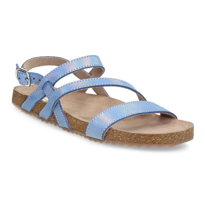Dívčí sandály s holografickými pásky mini-b, modrá, 466-1609 - 13