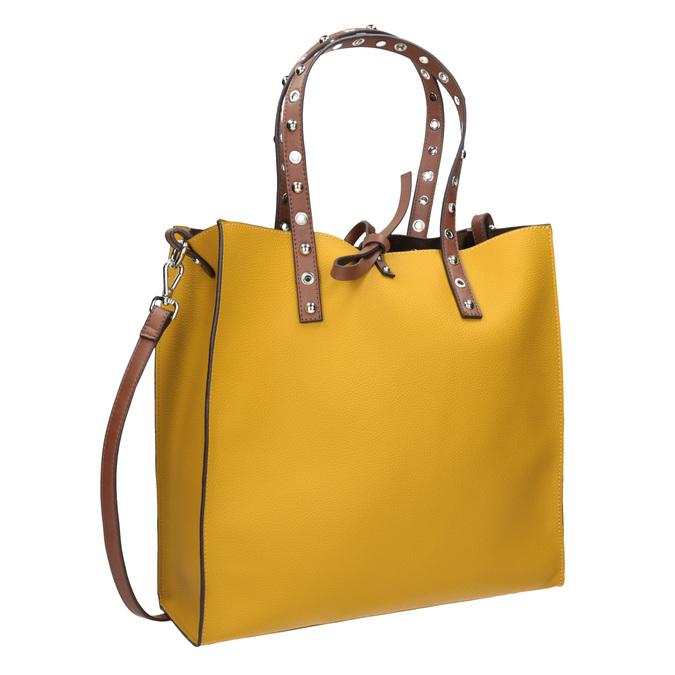 Žlutá shopper bag kabelka se cvočky bata, žlutá, 961-8296 - 13