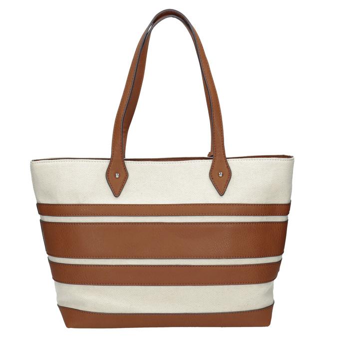 Dámská kabelka s hnědými pruhy bata, béžová, 969-8672 - 16