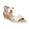 Kožené stříbrné sandály na klínku gabor, stříbrná, 766-5015 - 13