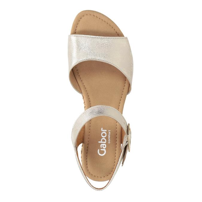 Kožené stříbrné sandály na klínku gabor, stříbrná, 766-5015 - 15
