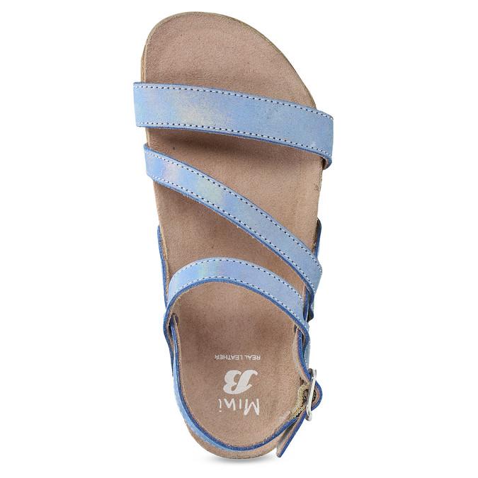 Dívčí sandály s holografickými pásky mini-b, modrá, 466-1609 - 17