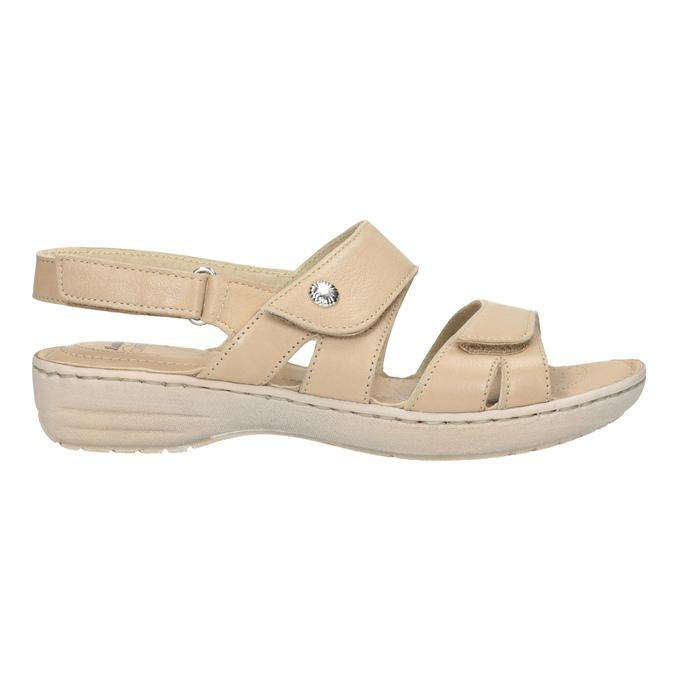 Dámské kožené sandály se suchými zipy béžové comfit, béžová, 566-8634 - 16