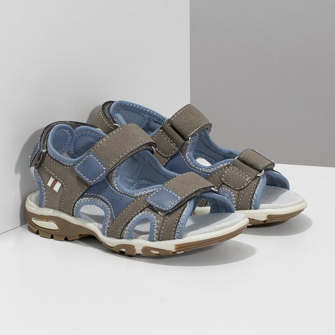Chlapecké sandály na suchý zip šedo-modré mini-b, hnědá, 261-3608 - 26