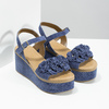Kožené sandály na flatformě modré bata, modrá, 763-9601 - 26
