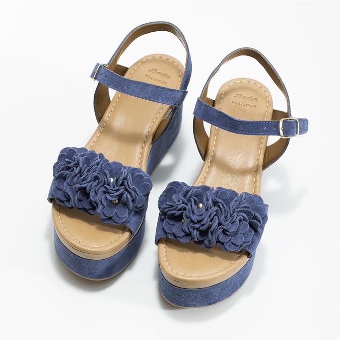 Kožené sandály na flatformě modré bata, modrá, 763-9601 - 16
