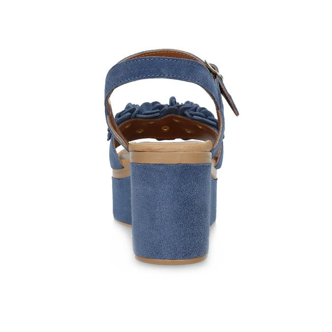 Kožené sandály na flatformě modré bata, modrá, 763-9601 - 15
