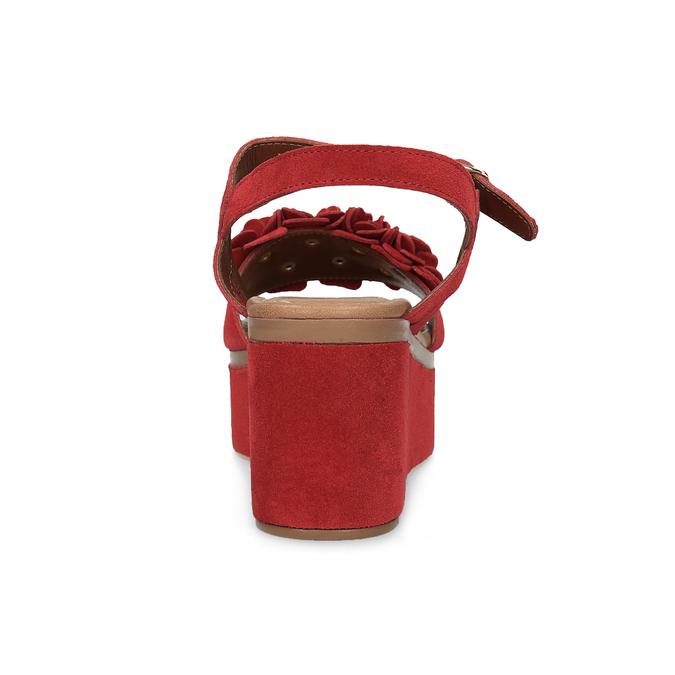 Červené sandály na flatformě bata, červená, 763-5601 - 15