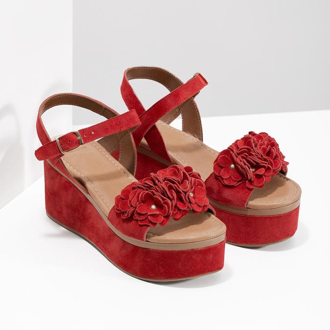 Červené sandály na flatformě bata, červená, 763-5601 - 26