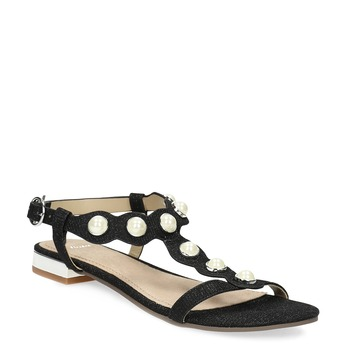 Černé sandály s perličkami bata, černá, 569-6606 - 13