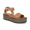 Kožené sandály na pruhované flatformě bata, hnědá, 666-4633 - 13