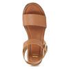 Kožené sandály na pruhované flatformě bata, hnědá, 666-4633 - 17