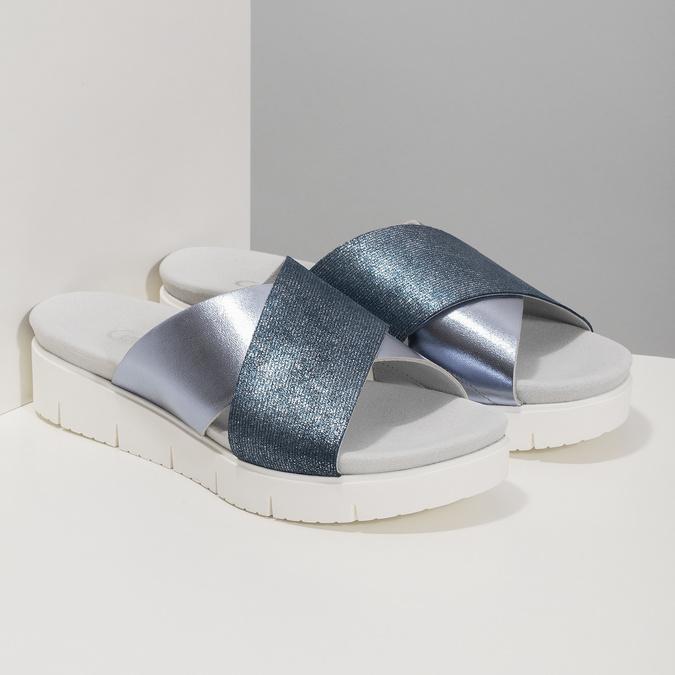Dámské kožené nazouváky na flatformě modré gabor, modrá, 666-9008 - 26