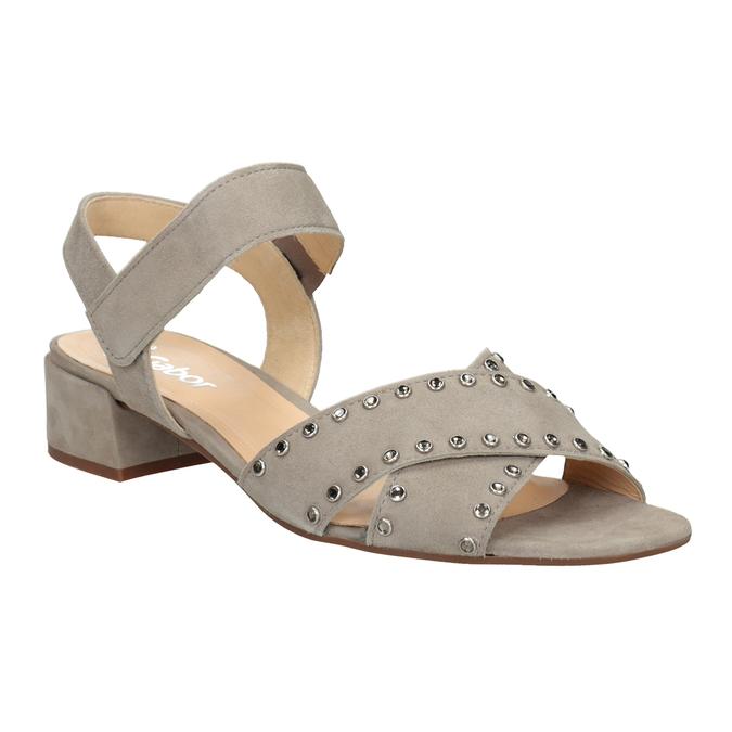 kožené sandály na nízkém podpatku s kamínky gabor, béžová, 663-8005 - 13