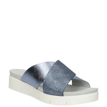 Dámské kožené nazouváky na flatformě modré gabor, modrá, 666-9008 - 13