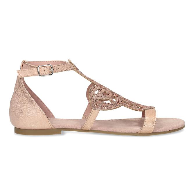 Starorůžové dámské sandály s kamínky bata, růžová, 561-5614 - 19