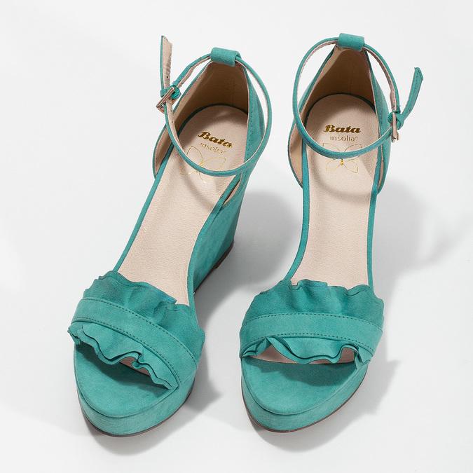 Tyrkysové sandály na klínku s volány insolia, tyrkysová, 769-9618 - 16
