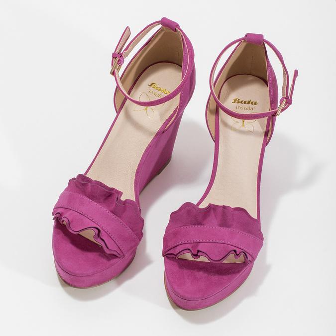 Sandály na klínku s volánem insolia, růžová, 769-5618 - 16