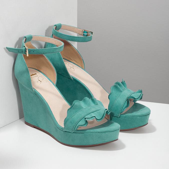 Tyrkysové sandály na klínku s volány insolia, tyrkysová, 769-9618 - 26