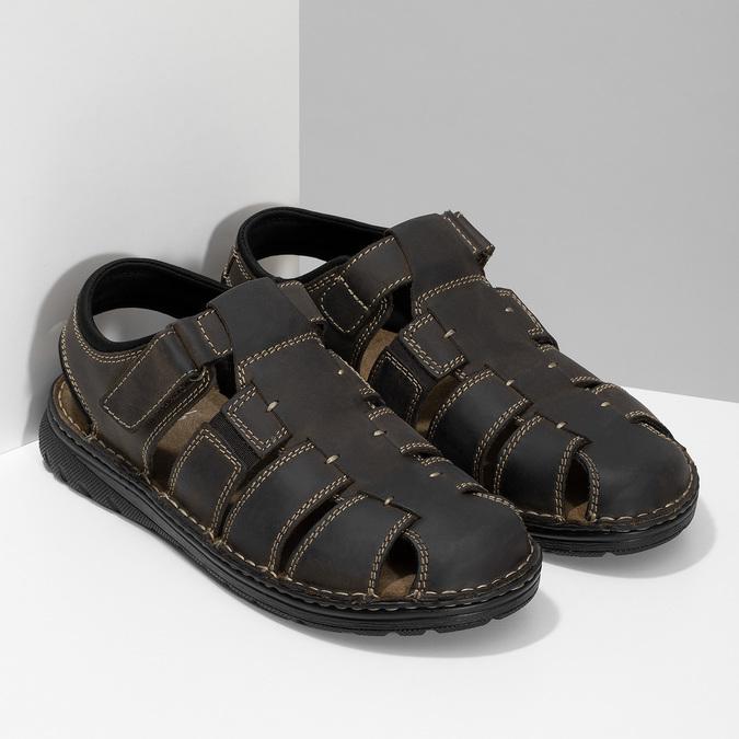 Kožené sandály se zavřenou špičkou bata, hnědá, 866-4616 - 26