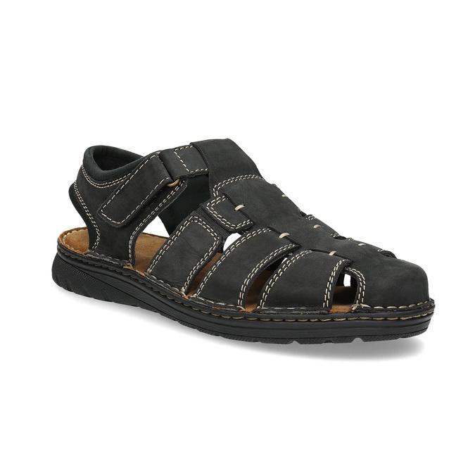 Pánské kožené sandály s plnou špičkou černé bata, černá, 866-6616 - 13