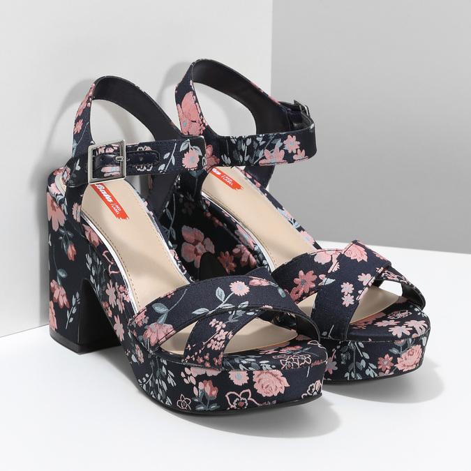 Dámské květinové sandály na masivním podpatku bata-red-label, modrá, 666-5621 - 26
