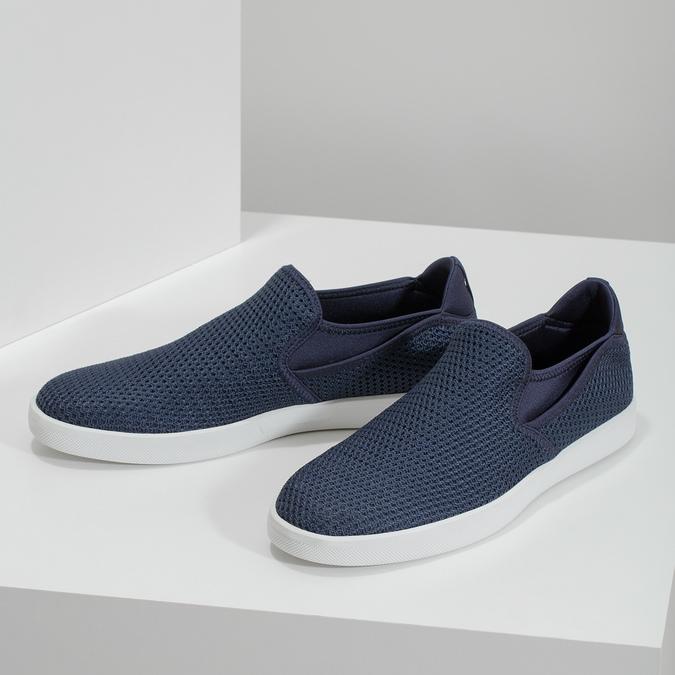 Modré pánské Slip-on boty z textilu bata-red-label, modrá, 839-9602 - 16