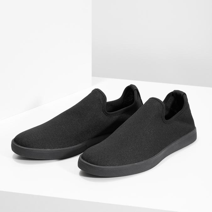 Pánské textilní Slip-on boty bata-red-label, černá, 839-6601 - 16