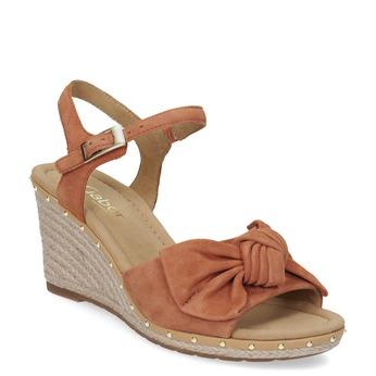 Sandály na klínku z broušené kůže gabor, hnědá, 763-4004 - 13