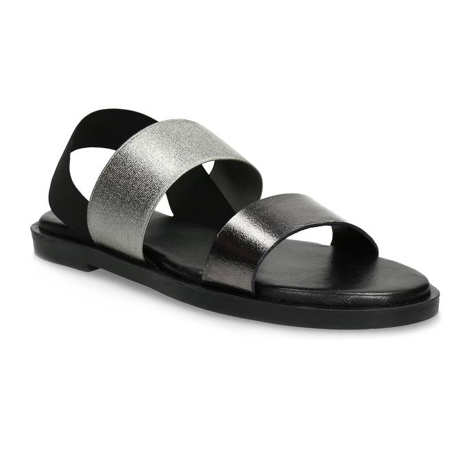 Kožené dámské černo-stříbrné sandály bata, černá, 566-6638 - 13