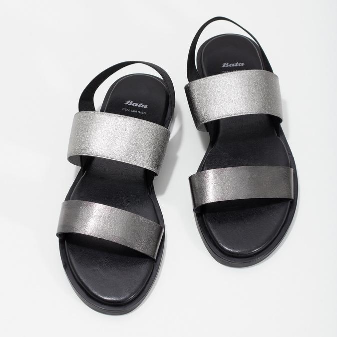 Kožené dámské černo-stříbrné sandály bata, černá, 566-6638 - 16
