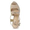 Dámské sandály na klínku se vzorem béžové insolia, béžová, 769-8622 - 17
