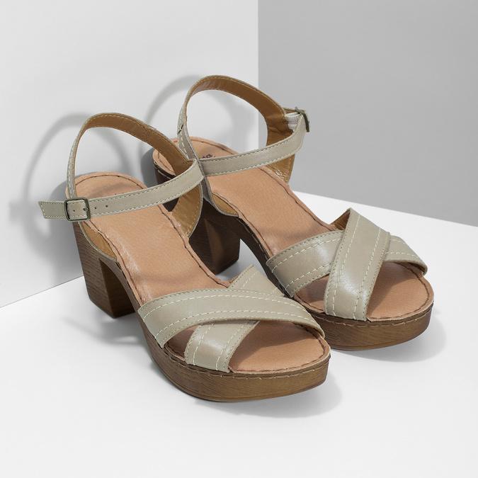 Kožené sandály na dřevěném podpatku béžové comfit, béžová, 666-8624 - 26