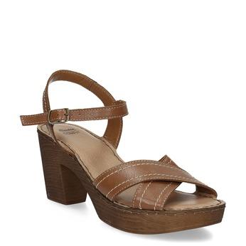 Hnědé kožené sandály na dřevěném podpatku comfit, hnědá, 666-4624 - 13